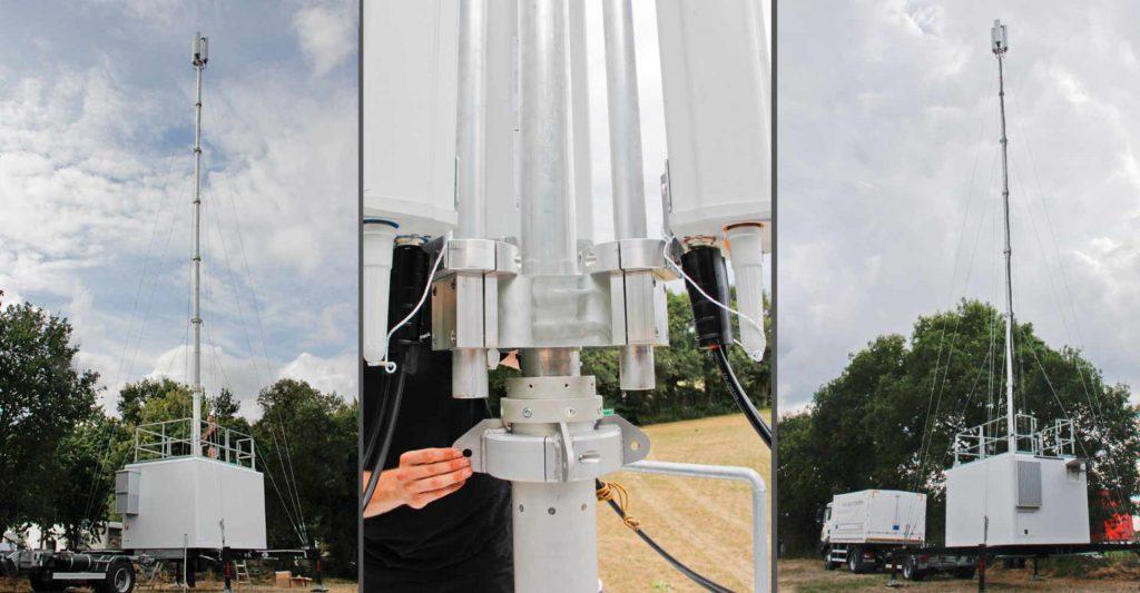 Funkloch - Mobilfunkabdeckung für Parookaville, aufgebauter Mobilfunkcontainer der Funklochstopfer von Vetters 6 Freywald KG bei Weeze für die Mobilfunkabdeckung des Festivals Parookaville