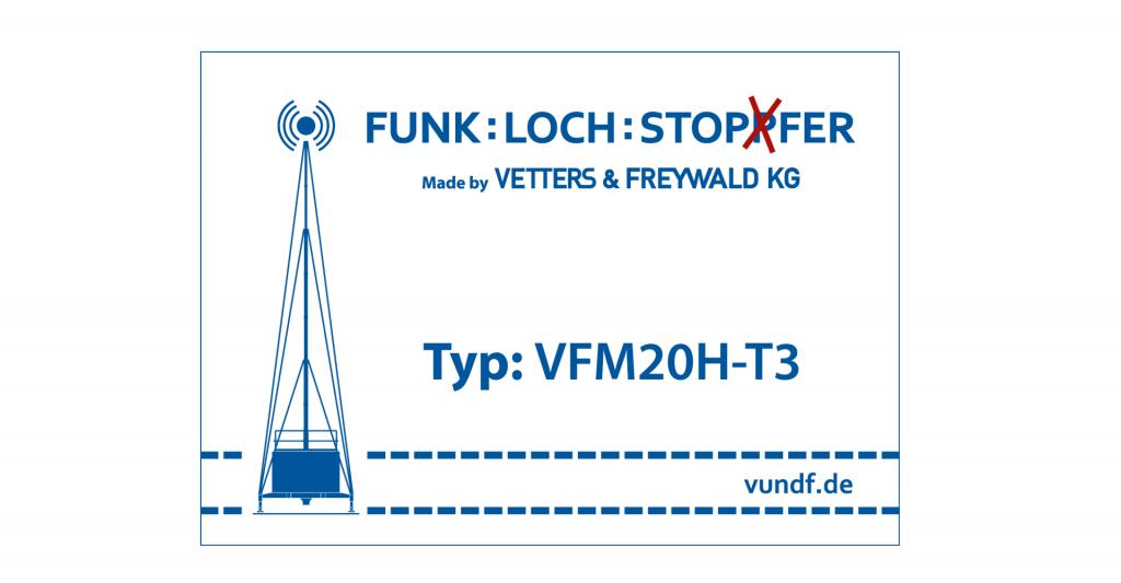 News: Fundstück des Tages. Typenschild der mobilden Sendestationen Funklochstopfer der Firma Vetters & Freywald KG